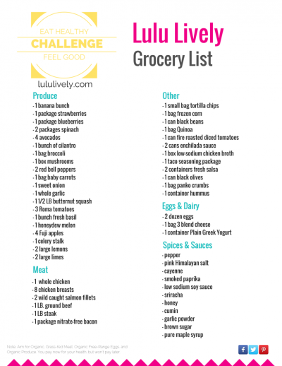 Lulu Lively Grocery List